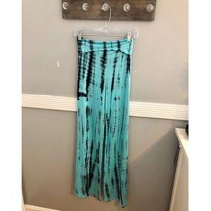 Pants - Teal Tie Dye Flare Leg Pants